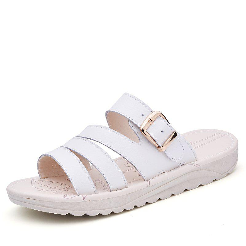 Chic New Lady Summer Real Leather Antiskid Flat Bottomed Beach Shoes