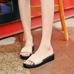 New Ladies Solid Color Platform Comfort Fashion Slippers -