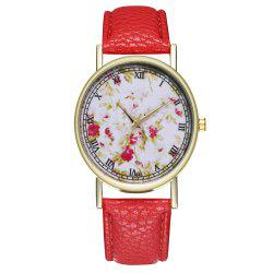 Zhou Lianfa Brand Rose Flower Pattern Style Leather Watch -