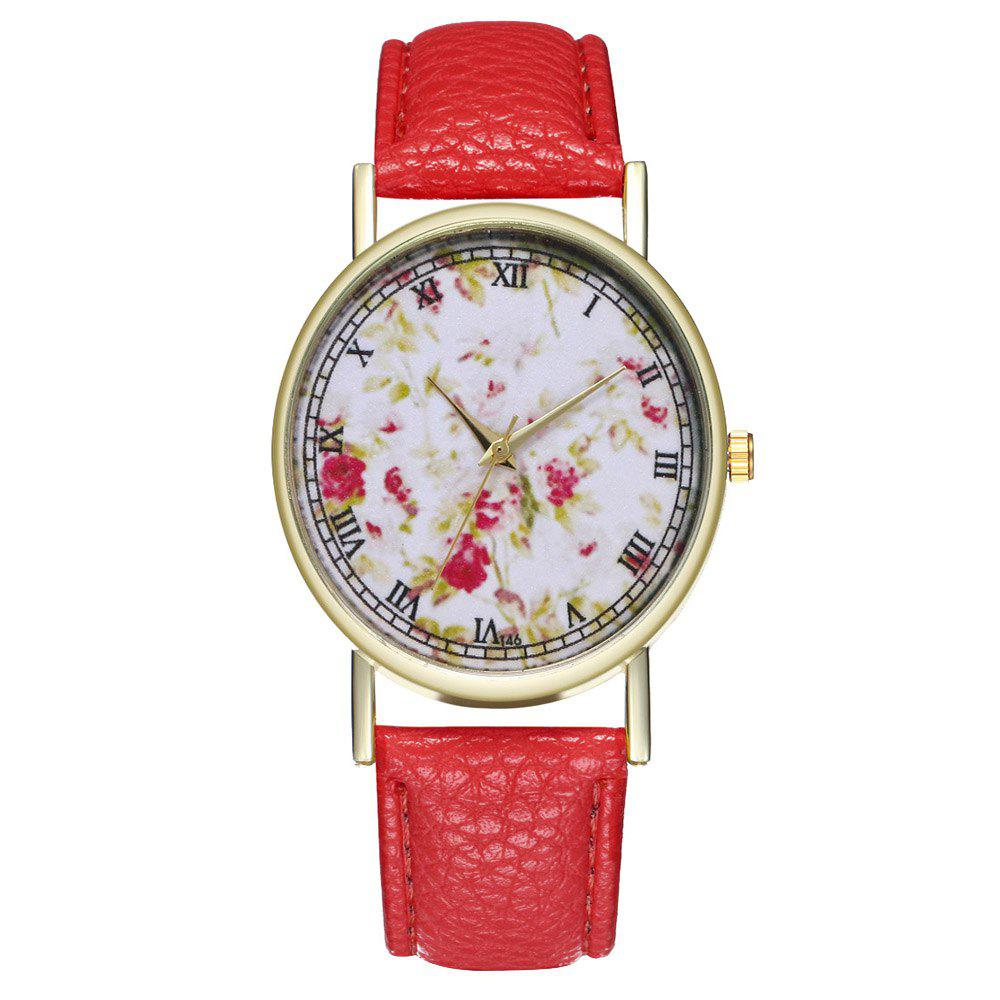 Hot Zhou Lianfa Brand Rose Flower Pattern Style Leather Watch