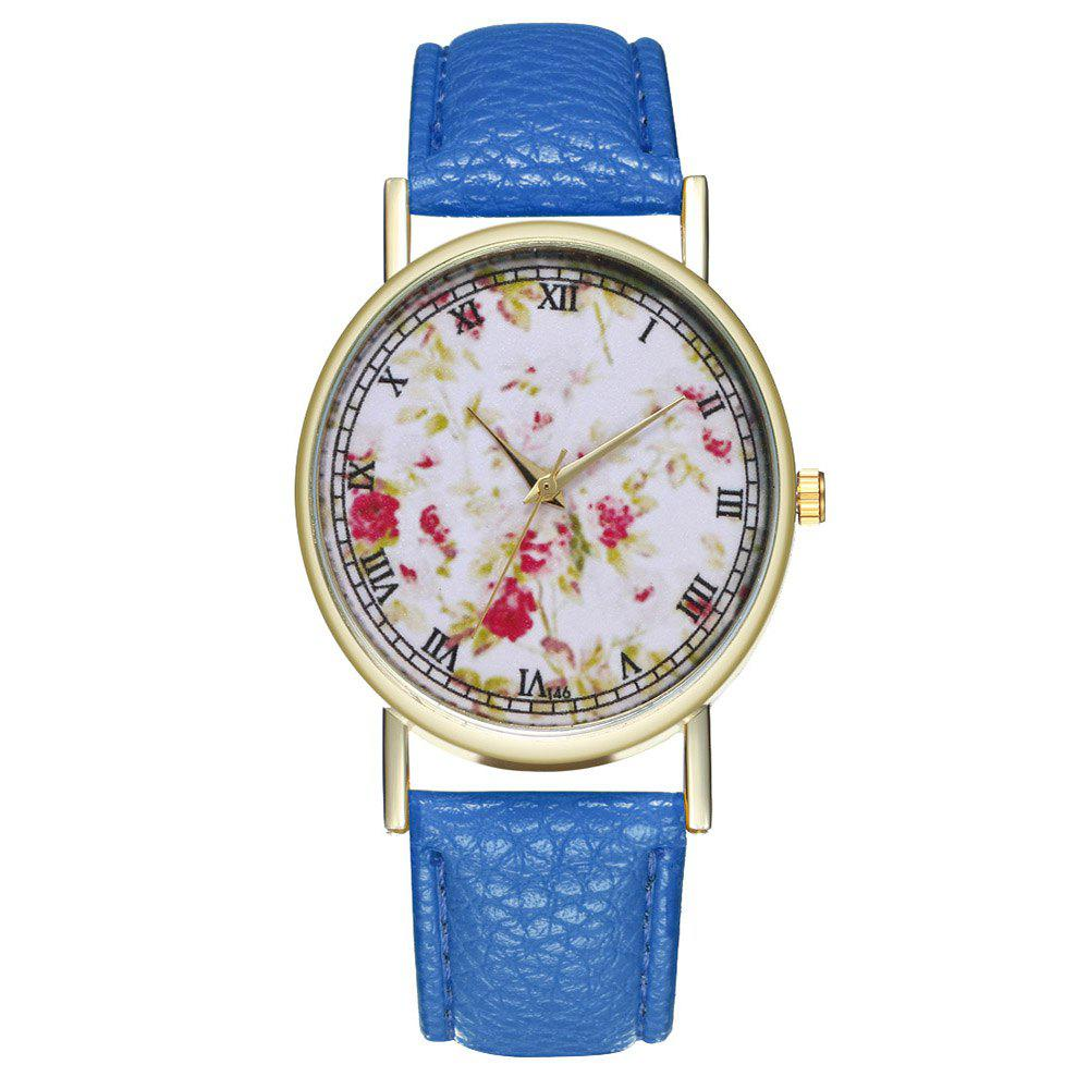 Outfits Zhou Lianfa Brand Rose Flower Pattern Style Leather Watch