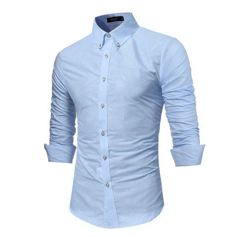 Sale Spring New Men's Fashion Camouflage Dark Long-Sleeved Slim Shirt