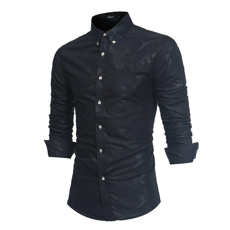 Discount Spring New Men's Fashion Camouflage Dark Long-Sleeved Slim Shirt