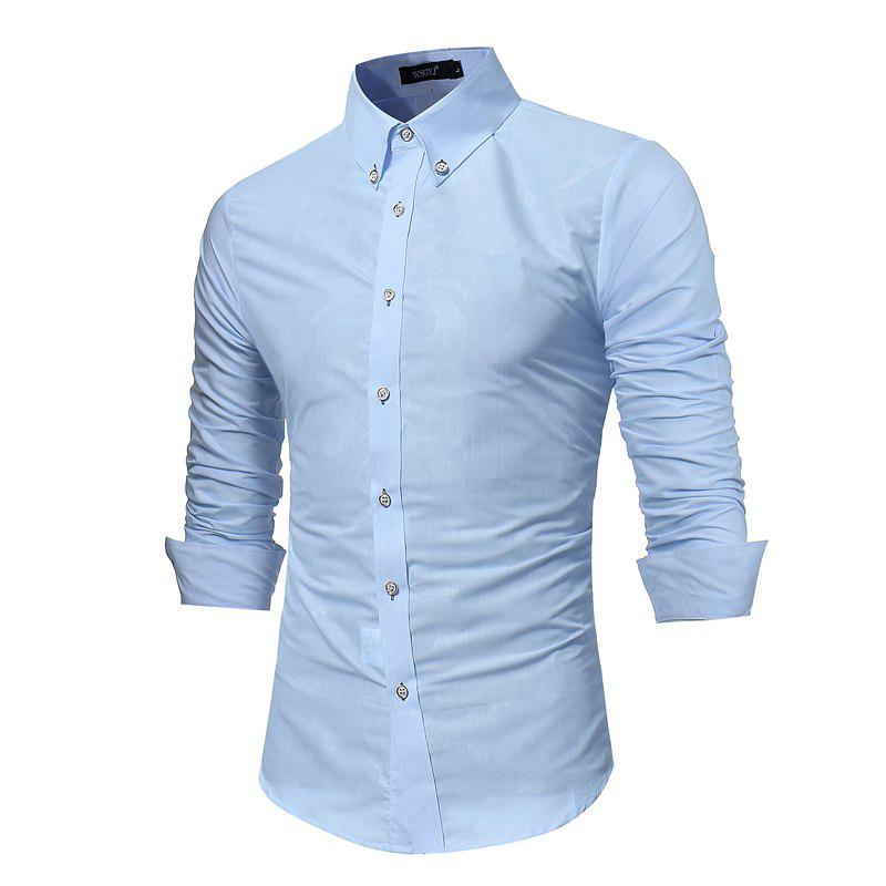 Latest Spring New Men's Fashion Camouflage Dark Long-Sleeved Slim Shirt