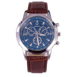 Geneva Blue Glass Men Leather Band Watch -