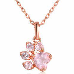 Fashion Item Decorated with Footprints Pink Diamond Pendant -