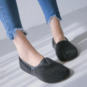 One Foot Warm Cotton Female Flat Bean Shoes -