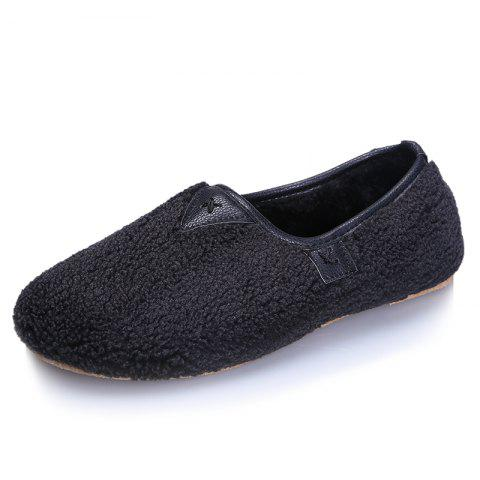 One Foot Warm Cotton Female Flat Bean Shoes