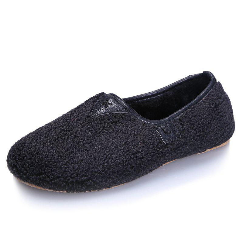 Chic One Foot Warm Cotton Female Flat Bean Shoes