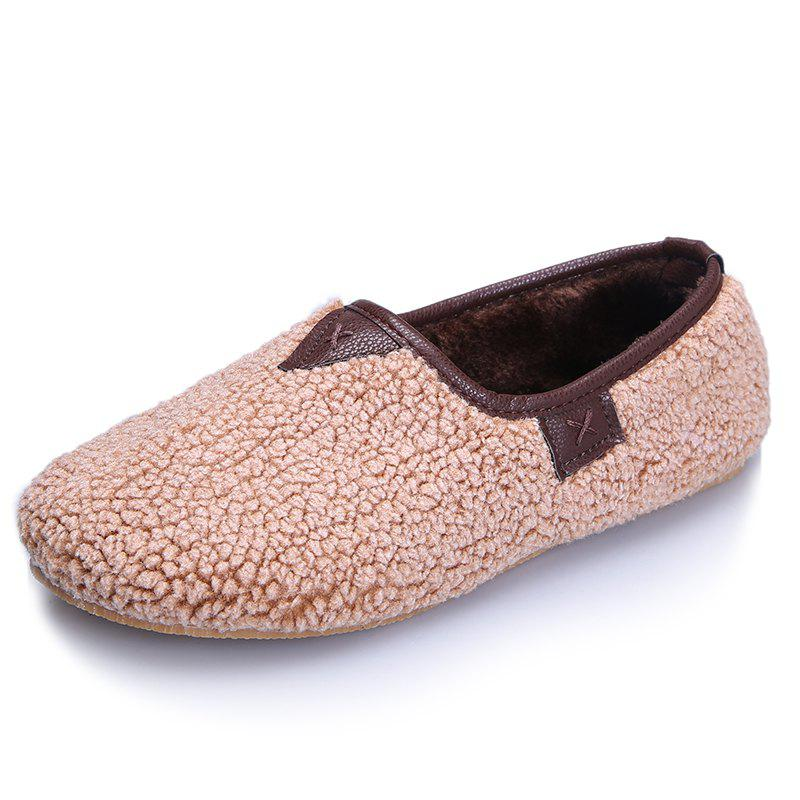Fancy One Foot Warm Cotton Female Flat Bean Shoes