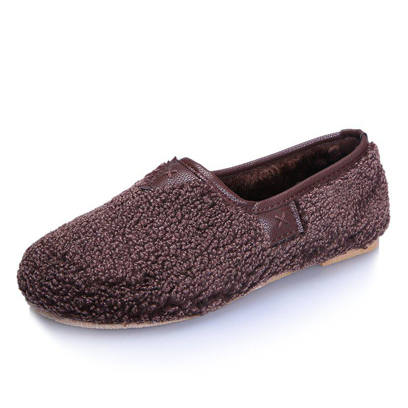 New One Foot Warm Cotton Female Flat Bean Shoes