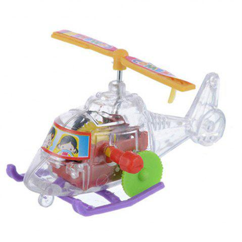 Online Small Plane Chain Wind-up Transparent Plastic Slide Helicopter Toy with Rotating Propeller