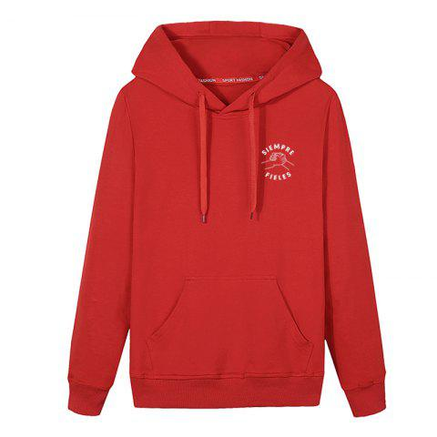 Trendy Men Students Pocket Stamp Hoodie