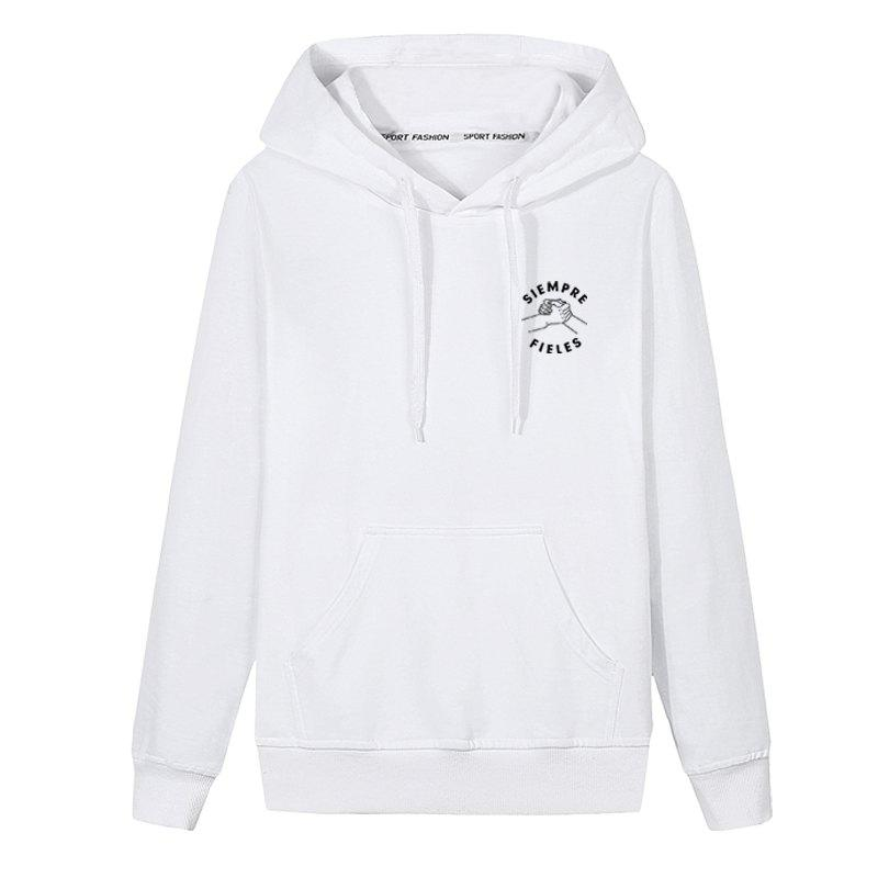 Chic Men Students Pocket Stamp Hoodie