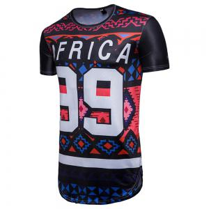 New African Ethnic Wind 99 Letter Print Short Sleeve T-Shirt -