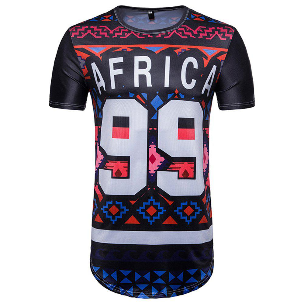 Chic New African Ethnic Wind 99 Letter Print Short Sleeve T-Shirt