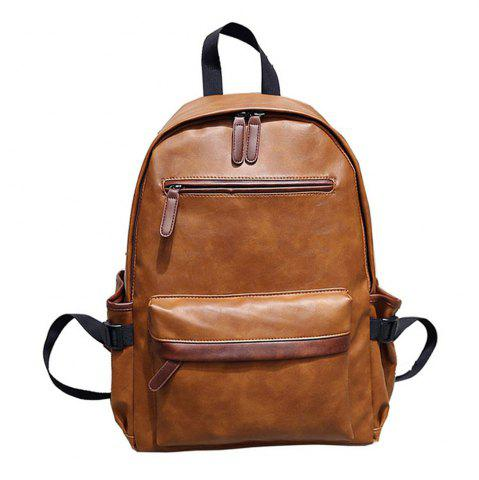 Outfit Preppy Style PU Leather School Backpack Bag For College Simple Design Men Casual Daypacks