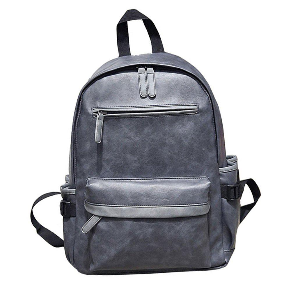 Trendy Preppy Style PU Leather School Backpack Bag For College Simple Design Men Casual Daypacks