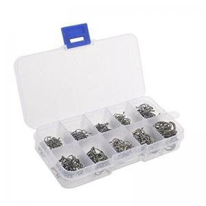 500PCS/SET 10 Grids Mixed Size 3 - 12 Circle High Carbon Steel Fish Hook -