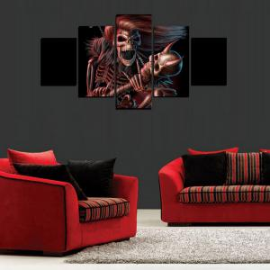 MailingArt FIV611  5 Panels Skull Wall Art Painting Home Decor Canvas Print -