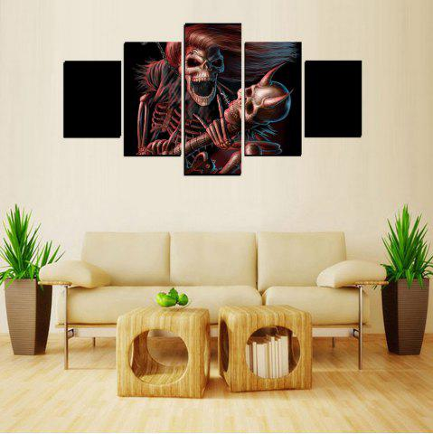 Sale MailingArt FIV611  5 Panels Skull Wall Art Painting Home Decor Canvas Print