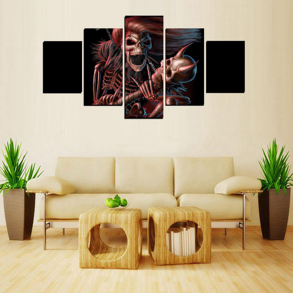Latest MailingArt FIV611  5 Panels Skull Wall Art Painting Home Decor Canvas Print