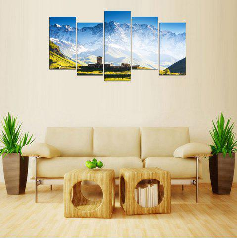 Store MailingArt FIV637  5 Panels Landscape Snow Mountain Wall Art Painting Home Decor Canvas Print