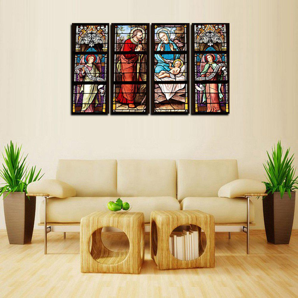 Best MailingArt FIV643  4 Panels Church Window Picture Wall Art Painting Home Decor Canvas Print