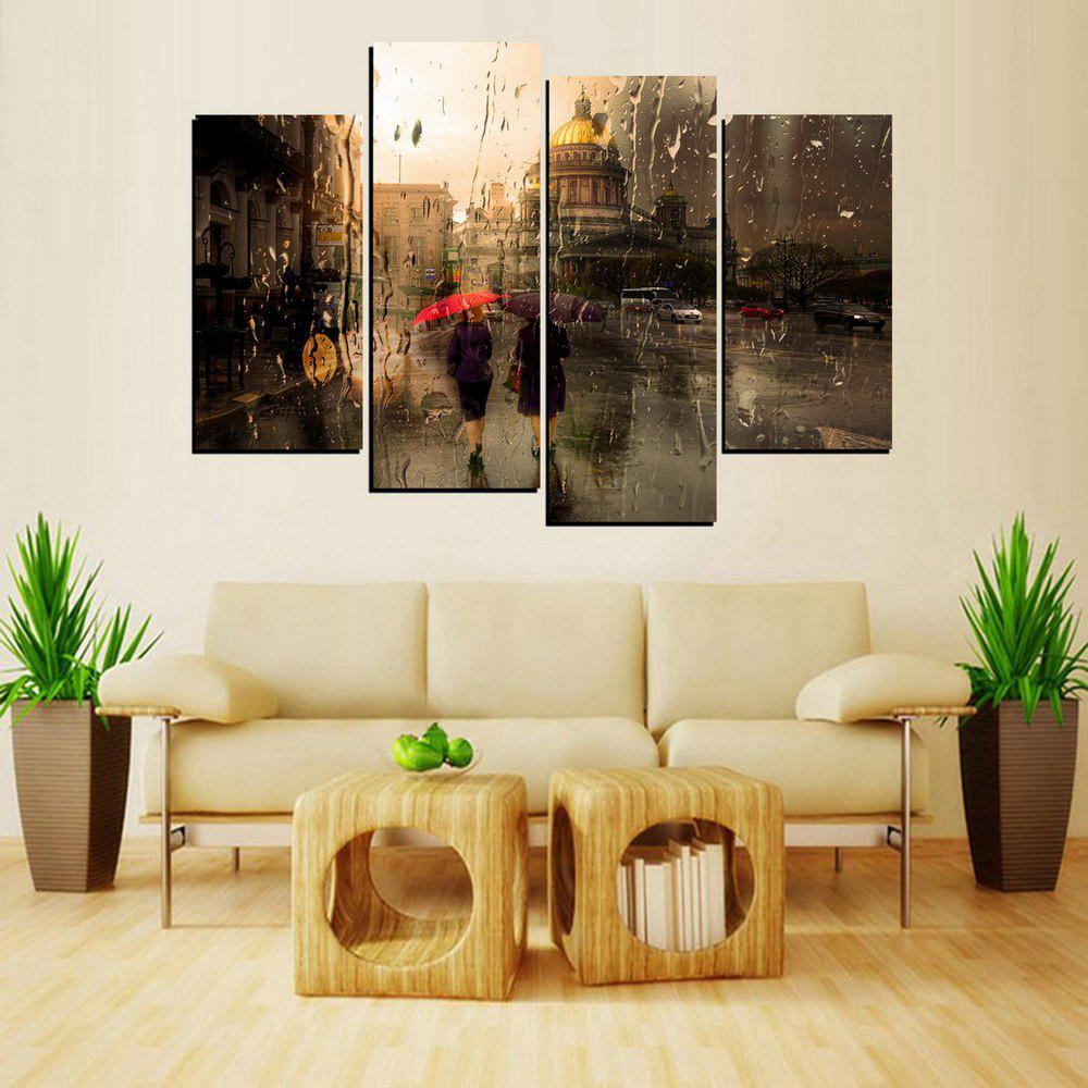 Store MailingArt FIV653  4 Panels Building Wall Art Painting Home Decor Canvas Print