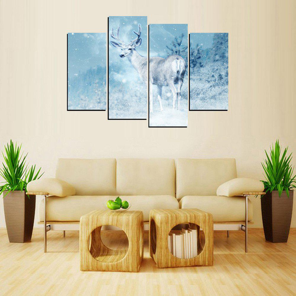 New MailingArt FIV654  4 Panels Animal Deer Wall Art Painting Home Decor Canvas Print