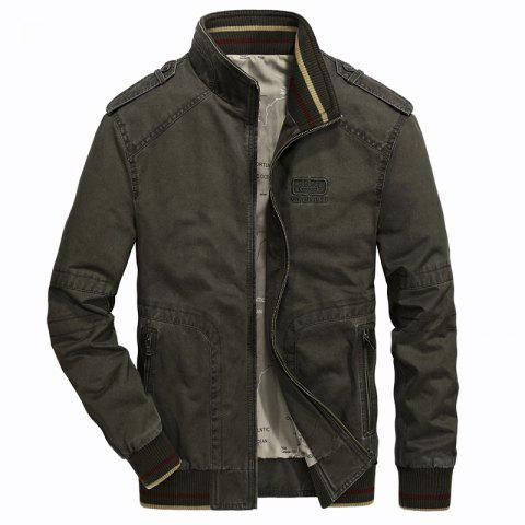 New Epaulet Design Zip Up Patch Jacket