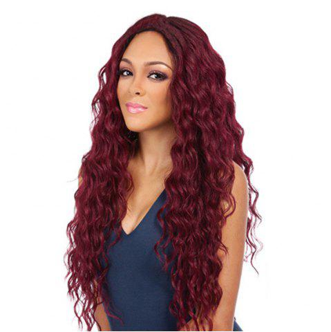 Best Long Style Wine Red Color Best Fashion Fluffy Wavy Synthetic Hair Wig for European Women