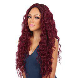 Long Style Wine Red Color Best Fashion Fluffy Wavy Synthetic Hair Wig for European Women -