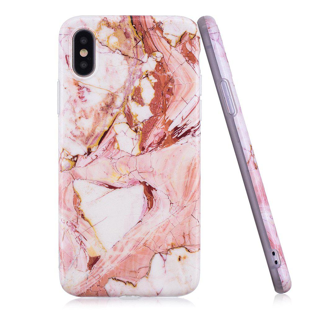 Buy Luxury Marble Stone Pattern Slim Fit Soft Tpu Mobile Phone Case Cover Coque for iPhone X  -  PINK