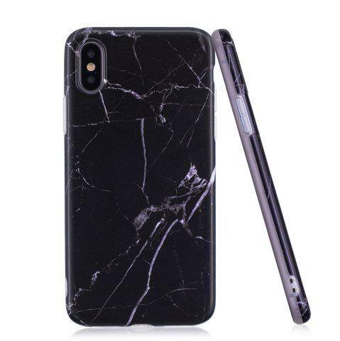Discount Luxury Marble Stone Pattern Slim Fit Soft Tpu Mobile Phone Case Cover Coque for iPhone X  -  Black