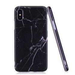 Luxury Marble Stone Pattern Slim Fit Soft Tpu Mobile Phone Case Cover Coque for iPhone X  -  Black -