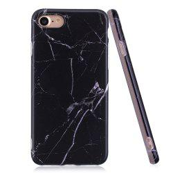 Luxury Marble Stone Pattern Slim Fit Soft Tpu Mobile Phone Case Cover Coque for iPhone 7 - Black -