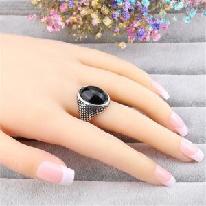 Stylish Personality Simple Agate Black Stone Ring Woman -