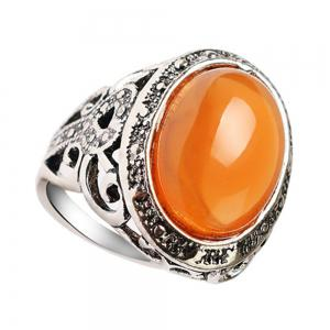 Stylish Personality Simple Yellow Emerald Ring Men Woman -