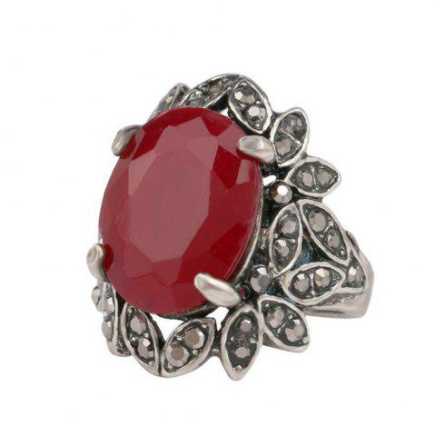 Best Fashion Personality Simple Leaves Diamond Ruby Ring Woman