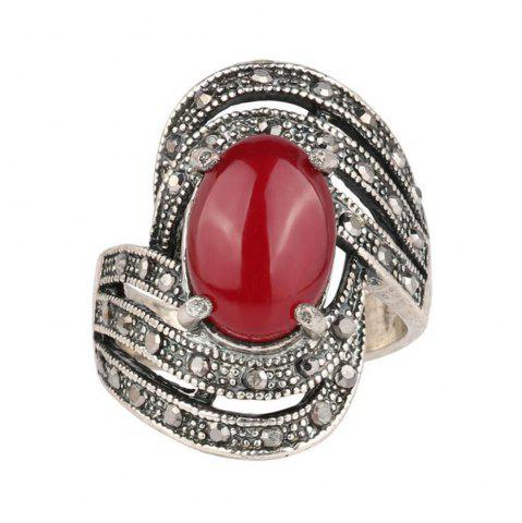 Discount Fashion Personality Diamond Oval Black Ruby Ring Woman