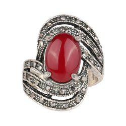 Fashion Personality Diamond Oval Black Ruby Ring Woman -