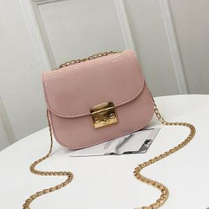 Chain Lock with Bright Face Slanted Shoulder Bag -