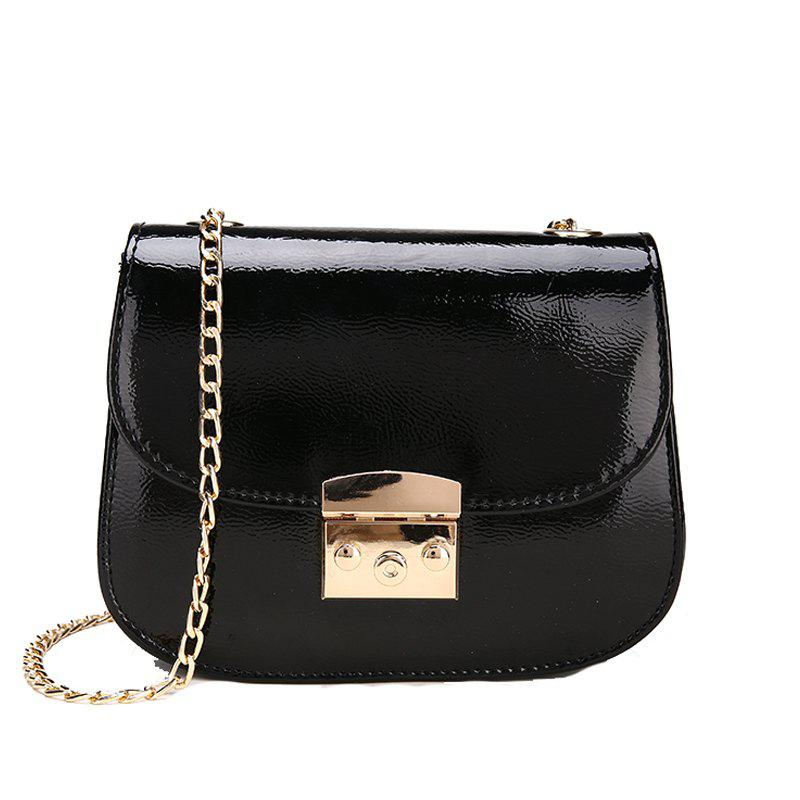 Shops Chain Lock with Bright Face Slanted Shoulder Bag