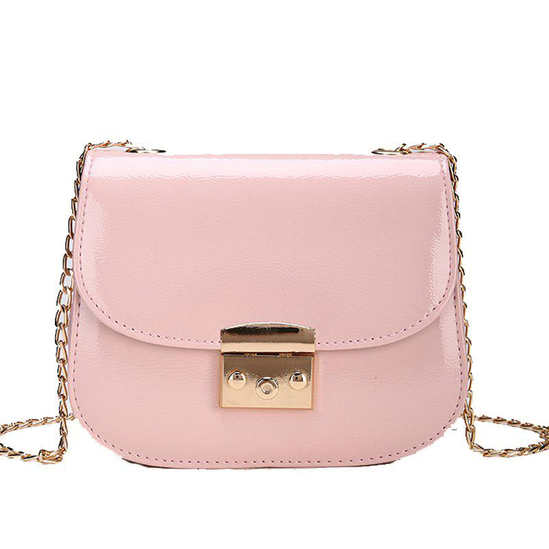 Trendy Chain Lock with Bright Face Slanted Shoulder Bag