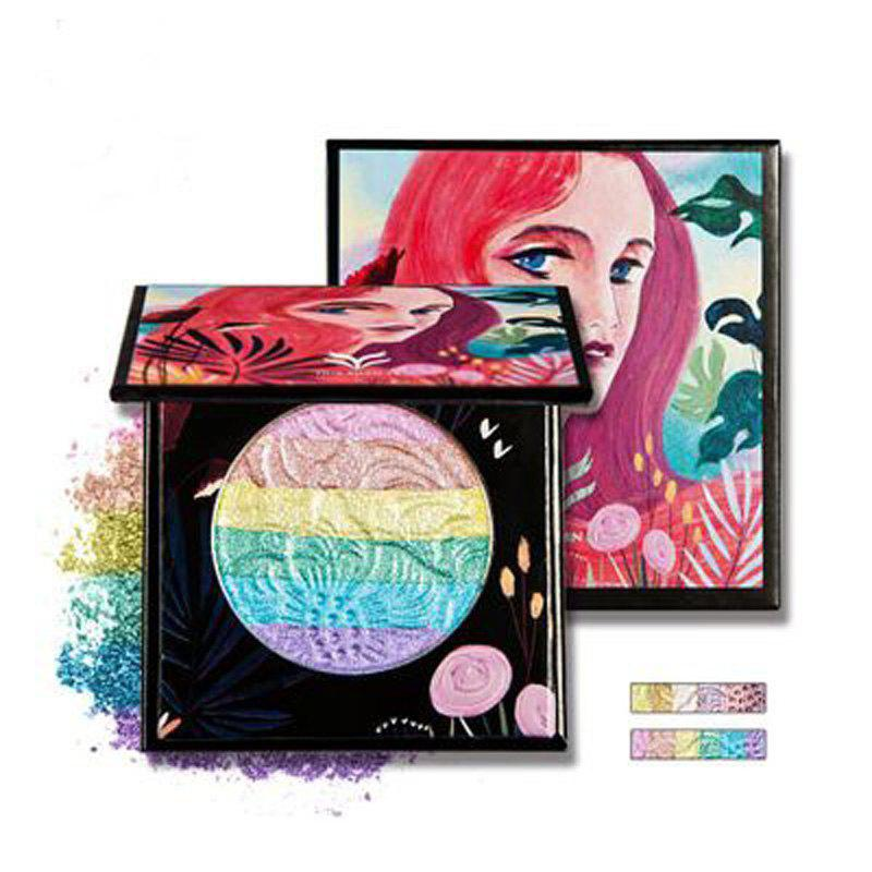 Hot HUAMIANLI Rainbow Highlighter Blush Face Pressed Eyeshadow Powder Palette Make Up Cosmetics