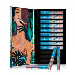 HUAMIANLI Bronze Metallic Liquid Lipstick Lipgloss No Fading Makeup Sets 12PCS -