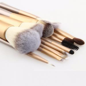 Professional Soft Champagne Makeup Brushes Cosmetic Real Make Up Tools Eyeshadow Blush Set with Leather Bag 24PCS -