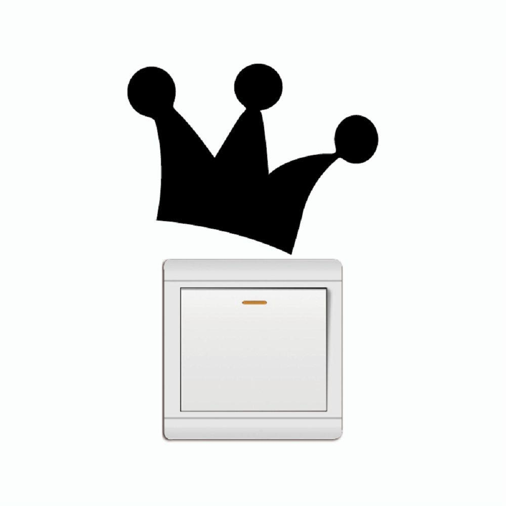 Unique Cute Crown Vinyl Switch Sticker Cartoon Wall Sticker for Kids Room Bedroom Home