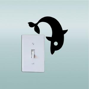 DSU Cute Dolphin Switch Sticker Creative Cartoon Animal Vinyl Wall Sticker for Kids Room -